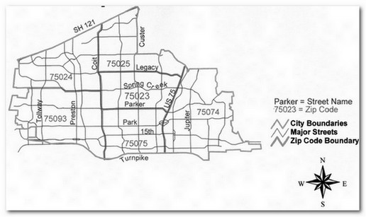 Plano Zip Code Boundaries Map   Plano Homes & Land